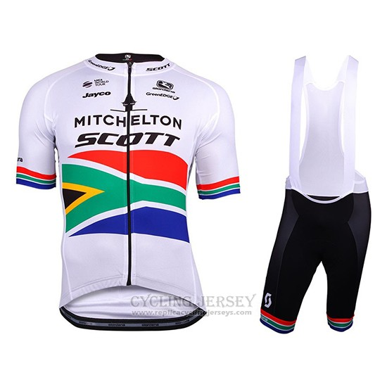 2018 Cycling Jersey Mitchelton Scott Champion South Africa Short Sleeve and Bib Short