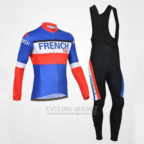 2014 Cycling Jersey Monton Champion Francese Long Sleeve and Bib Tight