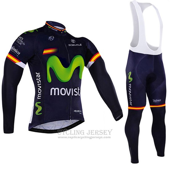 2017 Cycling Jersey Movistar Champion Spain Long Sleeve and Bib Tight