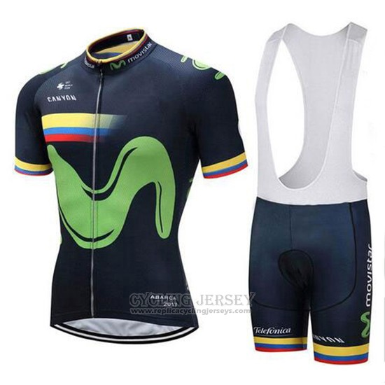 2018 Cycling Jersey Movistar Champion Colombia Short Sleeve and Bib Short
