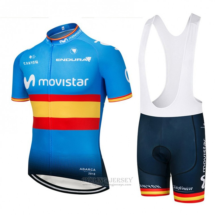 2018 Cycling Jersey Movistar Champions Spain Blue Short Sleeve and Bib Short