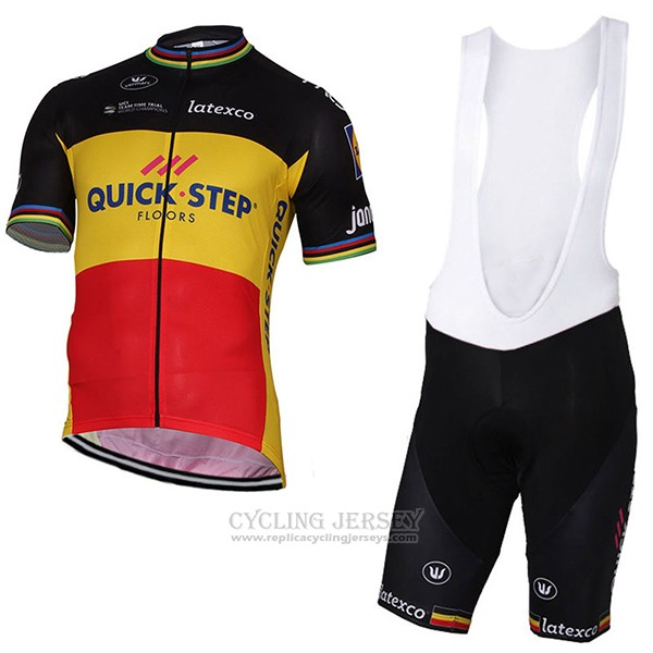 2017 Cycling Jersey Quick Step Floors Champion Belgium Short Sleeve and Bib Short