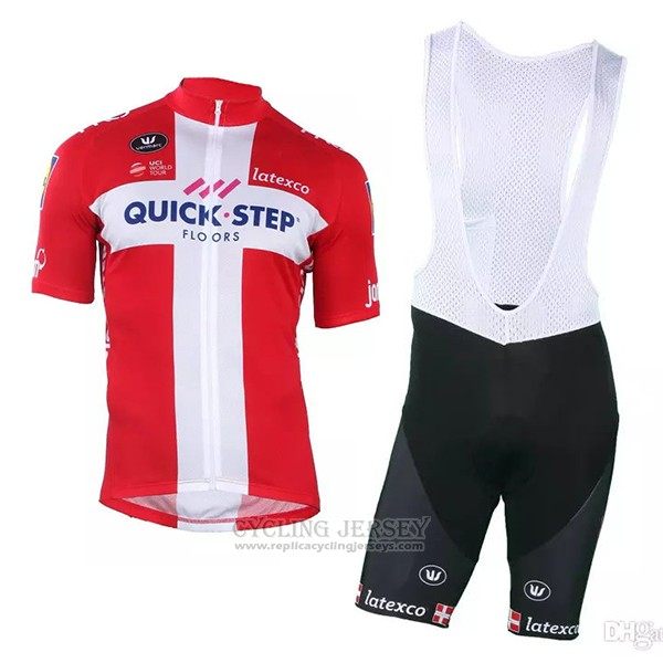 2018 2019 Cycling Jersey Quick Step Floors Champion Denmark Short Sleeve and Bib Short
