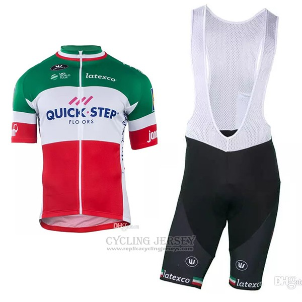2018 2019 Cycling Jersey Quick Step Floors Champion Italy Short Sleeve and Bib Short