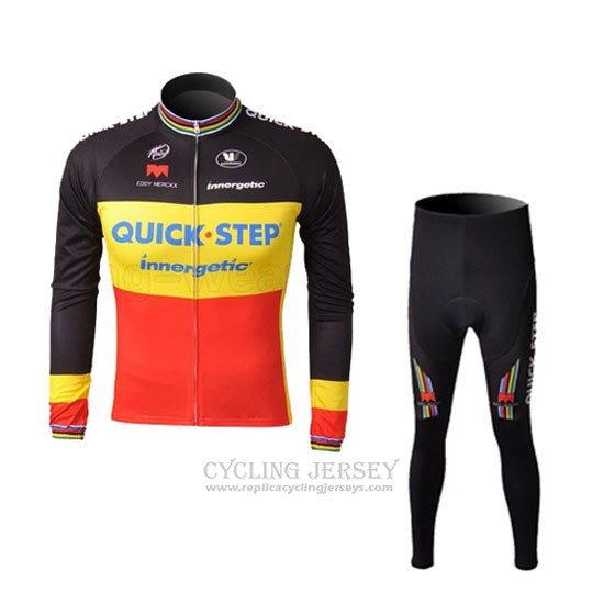 2010 Cycling Jersey Quick Step Champion Belgium Long Sleeve and Bib Tight