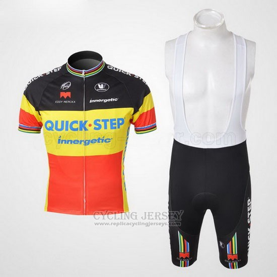 2010 Cycling Jersey Quick Step Champion Belgium Short Sleeve and Bib Short