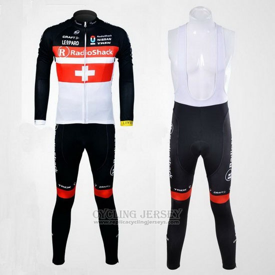 2011 Cycling Jersey Radioshack Champion Switzerland Long Sleeve and Bib Tight