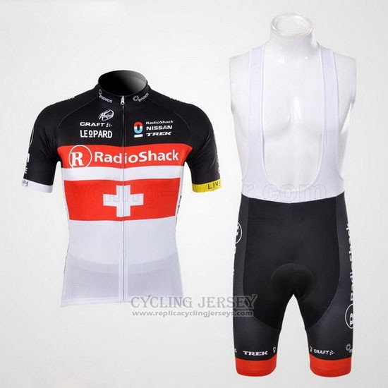 2012 Cycling Jersey Radioshack Champion Switzerland Short Sleeve and Bib Short