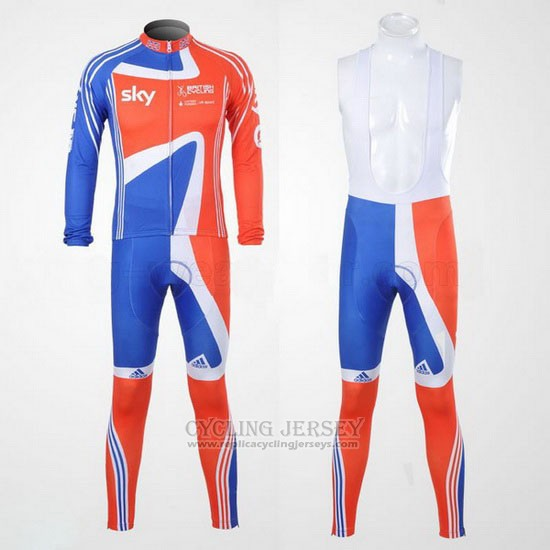 2012 Cycling Jersey Sky Champion Regno Unito Orange and Blue Long Sleeve and Bib Tight