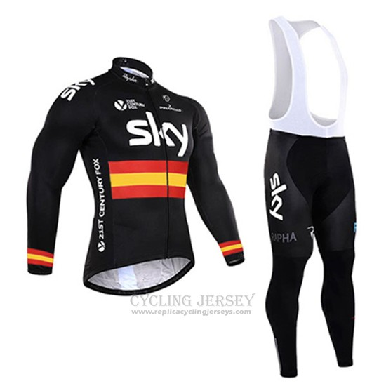 2017 Cycling Jersey Sky Champion Spain Black Long Sleeve and Bib Tight