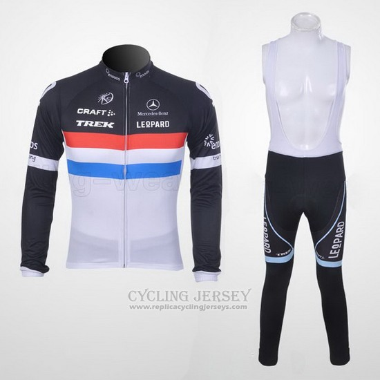 2011 Cycling Jersey Trek Leqpard Champion France Black and White Long Sleeve and Bib Tight