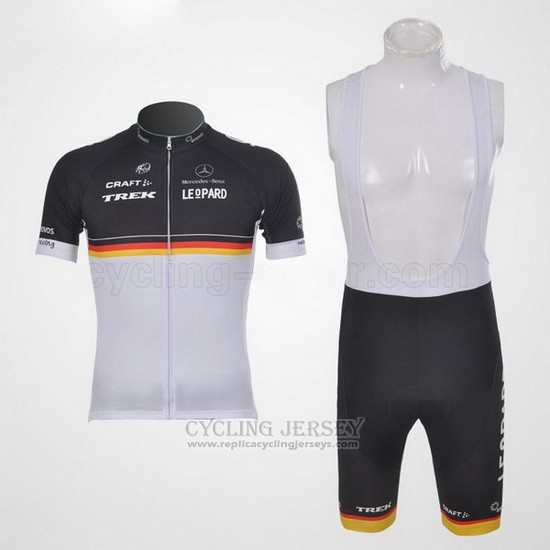 2011 Cycling Jersey Trek Leqpard Champion Germany Black and Yellow Short Sleeve and Bib Short