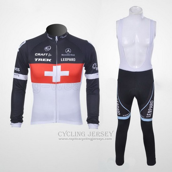2011 Cycling Jersey Trek Leqpard Champion Switzerland Red and White Long Sleeve and Bib Tight