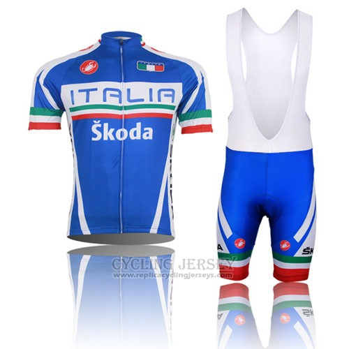 2014 Cycling Jersey Italy Blue and Red Short Sleeve and Bib Short
