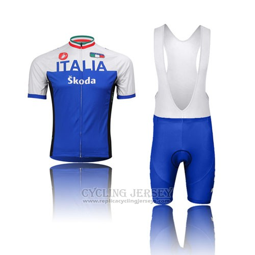 2014 Cycling Jersey Italy White and Blue Short Sleeve and Bib Short