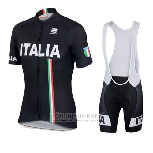 2016 Cycling Jersey Italy Black Short Sleeve and Bib Short