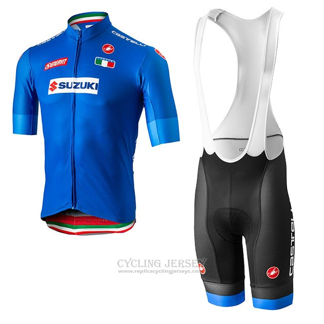 2018 Cycling Jersey Italy Blue Short Sleeve and Bib Short(1)