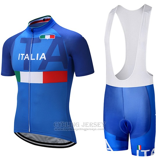 2018 Cycling Jersey Italy Blue Short Sleeve and Bib Short