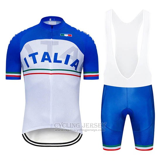 2019 Cycling Jersey Italy White Blue Short Sleeve and Bib Short