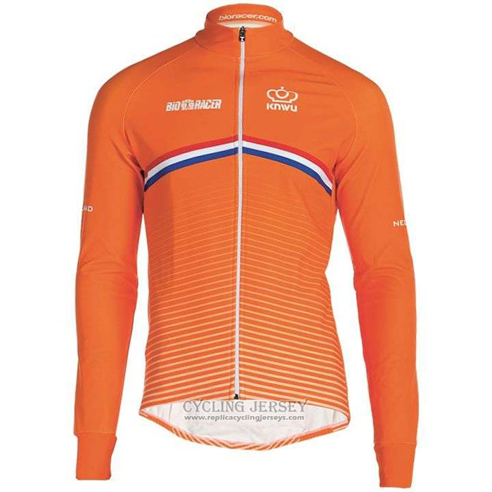 2019 Cycling Jersey Netherlands Orange Long Sleeve And Bib Tight