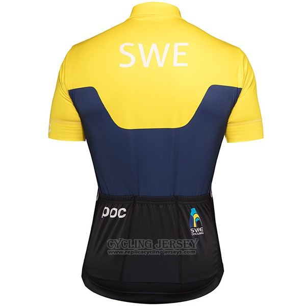 2017 Cycling Jersey Sweden Yellow and Blue Short Sleeve and Bib Short