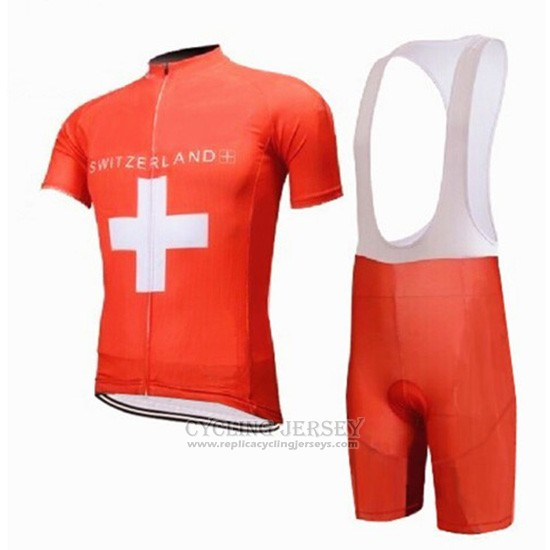 2018 Cycling Jersey Switzerland Red Short Sleeve and Bib Short