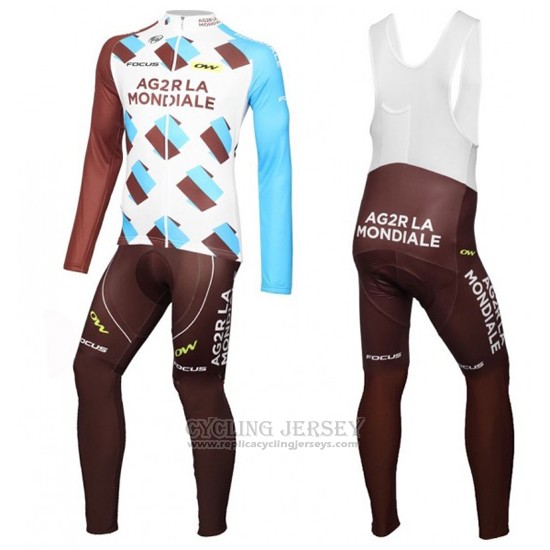 2016 Cycling Jersey Ag2rla White and Marron Long Sleeve and Bib Tight