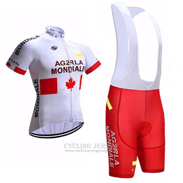 2017 Cycling Jersey Ag2rla Mondiale White Short Sleeve and Bib Short