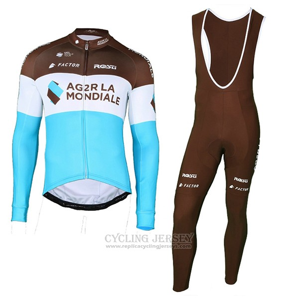 2018 Cycling Jersey Ag2r La Mondiale Marron Blue Long Sleeve and Bib Tight