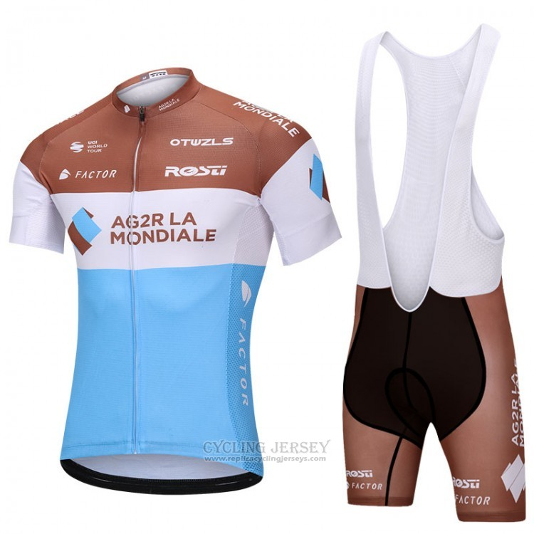 2018 Cycling Jersey Ag2rla Blue and White Short Sleeve and Bib Short