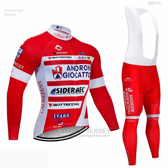 2019 Cycling Jersey Androni Giocattoli Red White Long Sleeve and Bib Tight