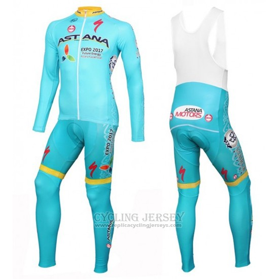 2016 Cycling Jersey Astana Light Blue and Yellow Long Sleeve and Bib Tight