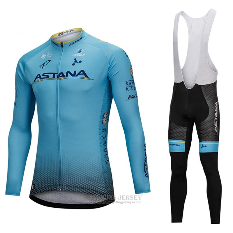 2018 Cycling Jersey Astana Blue Long Sleeve and Bib Tight