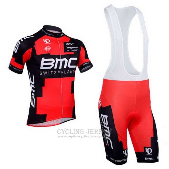 2013 Cycling Jersey BMC Black and Red Short Sleeve and Bib Short