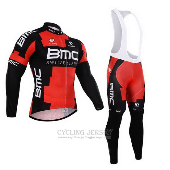 2015 Cycling Jersey BMC Black and Red Long Sleeve and Bib Tight