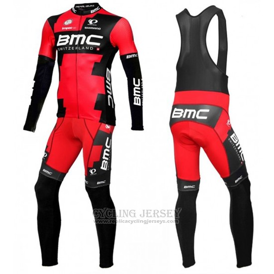 2016 Cycling Jersey BMC Black and Red Long Sleeve and Bib Tight