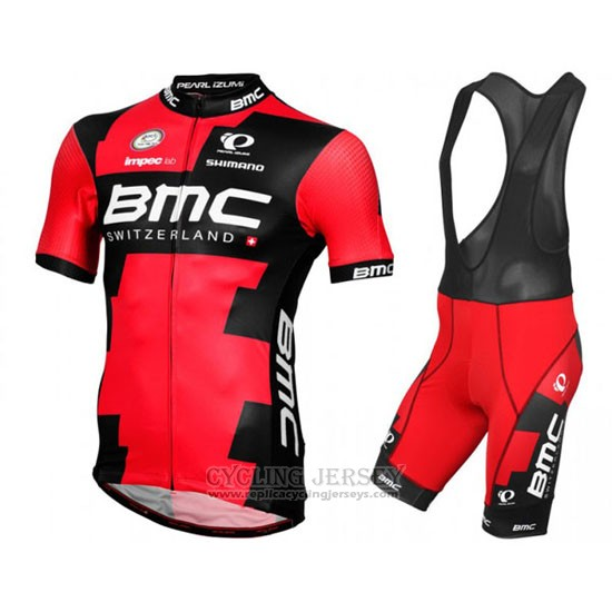 2016 Cycling Jersey BMC Black and Red Short Sleeve and Bib Short