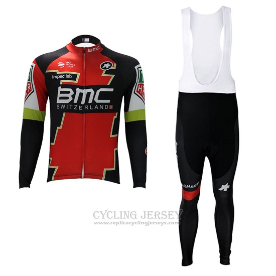 2017 Cycling Jersey BMC Red and Green Long Sleeve and Bib Tight