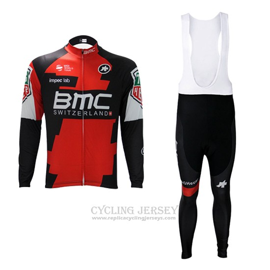 2017 Cycling Jersey BMC Red and White Long Sleeve and Bib Tight
