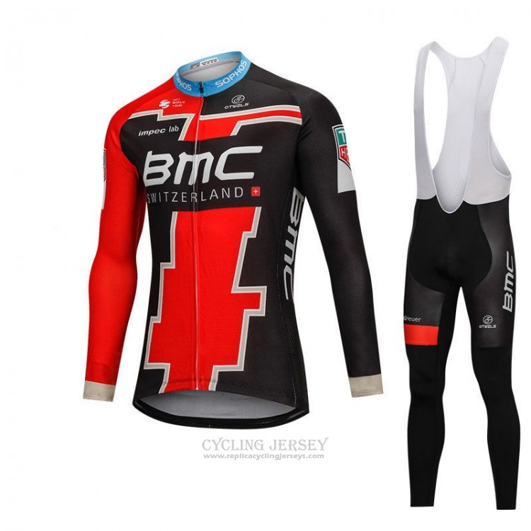2018 Cycling Jersey BMC Black and Red Long Sleeve and Bib Tight