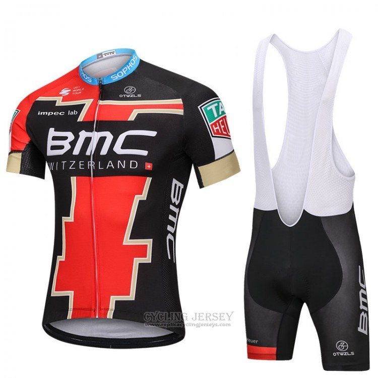 2018 Cycling Jersey BMC Black and Red Short Sleeve and Bib Short