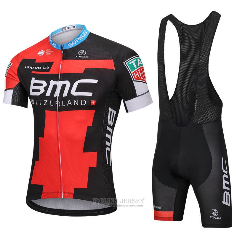 2018 Cycling Jersey BMC Red Black Short Sleeve and Bib Short