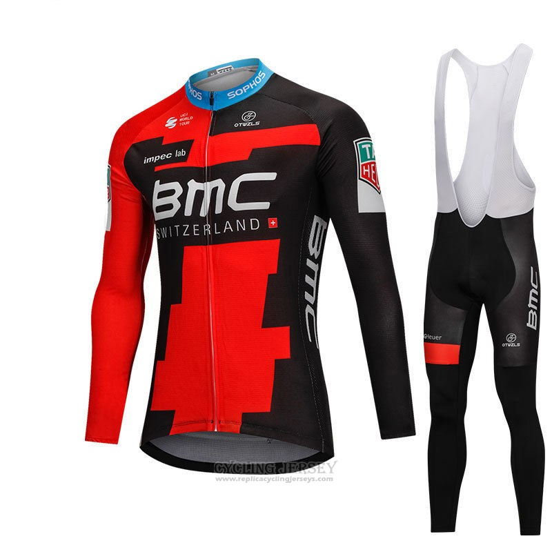 2018 Cycling Jersey BMC Red and Black Long Sleeve and Bib Tight