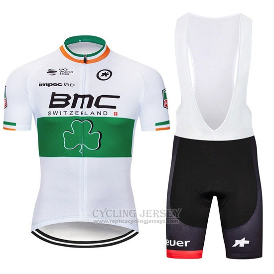 2019 Cycling Jersey BMC White Green Short Sleeve and Overalls