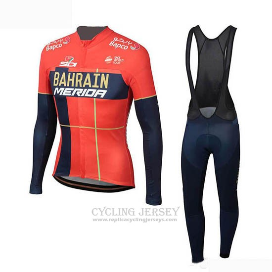 2019 Cycling Jersey Bahrain Merida Red Long Sleeve and Bib Tight(2)