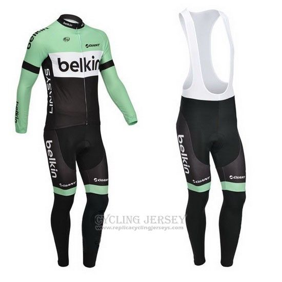 2013 Cycling Jersey Belkin Black and Green Long Sleeve and Bib Tight