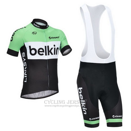 2013 Cycling Jersey Belkin Green and Black Short Sleeve and Bib Short