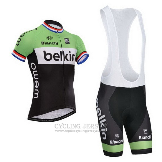 2014 Cycling Jersey Belkin Black and Green Short Sleeve and Bib Short