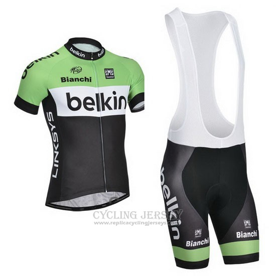 2014 Cycling Jersey Belkin Green and Black Short Sleeve and Bib Short