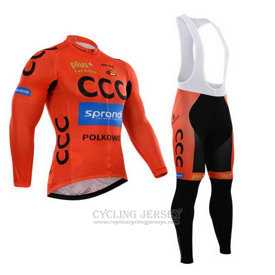 2015 Cycling Jersey CCC Black and Orange Long Sleeve and Bib Tight